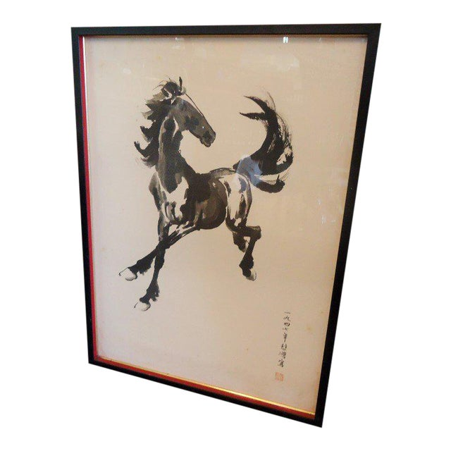 Japanese Equestrian Ink Horse Painting - Image 1 of 7