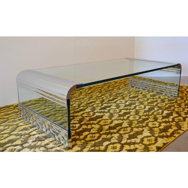 Chrome Large Chrome & Glass Leon Rosen Pace Collection Waterfall Cocktail Table 1970's For Sale - Image 7 of 11