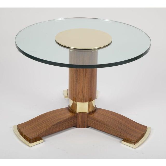 Jules Leleu Jules Leleu Mahogany, Bronze and Glass Coffee Table For Sale - Image 4 of 13
