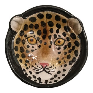 1970s Vintage Italian Pottery Leopard Face Hand Painted Bowl Ashtray For Sale