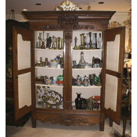 Carved Oak Marriage Armoire - Image 5 of 7