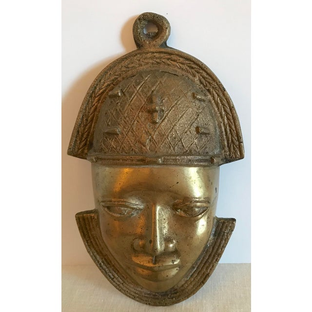 Vintage Brass African Mask For Sale - Image 11 of 11
