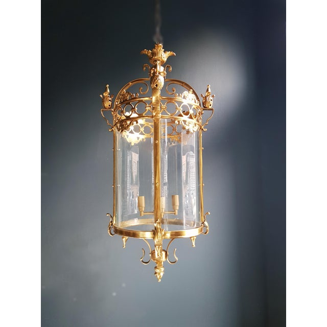 Brass 6 Aviable Large Cylindrical Lantern in Louis XVI Style Brass Glass Pendant Lighting For Sale - Image 7 of 10
