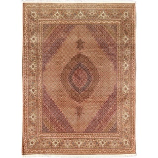 Keivan Woven Arts, B-0301, Tabriz Vintage Rug With Oval Medallion and Swirling Floral Design For Sale