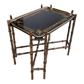 Vintage French Country Bamboo Black Gold Etched Tray Table by Baker Furniture For Sale