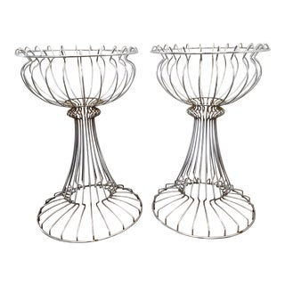 1970s Warren Platner Style Wire Sculptural Planters- a Pair For Sale