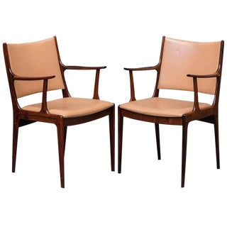 1960s Danish Modern Johannes Andersen Roeswood Armchairs - a Pair