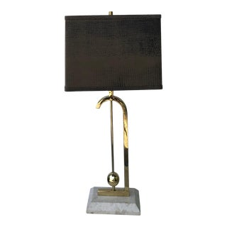 Vintage Brass and Travertine Table Lamp For Sale
