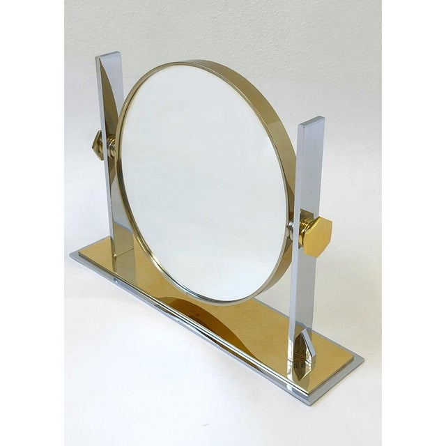 Brass and Nickel Vanity Mirror by Karl Springer For Sale - Image 9 of 10