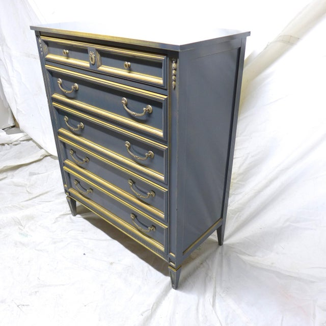 French Style Gray-Blue Painted Dresser - Image 5 of 11