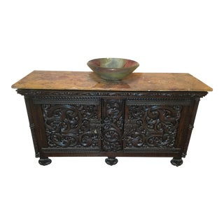 Antique French Cabinet With Onyx Top and Art Glass Sink For Sale