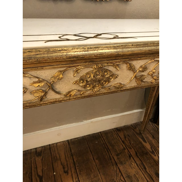 Antique Gilded Painted Italian Regency Console Table With Marble Top For Sale - Image 9 of 11