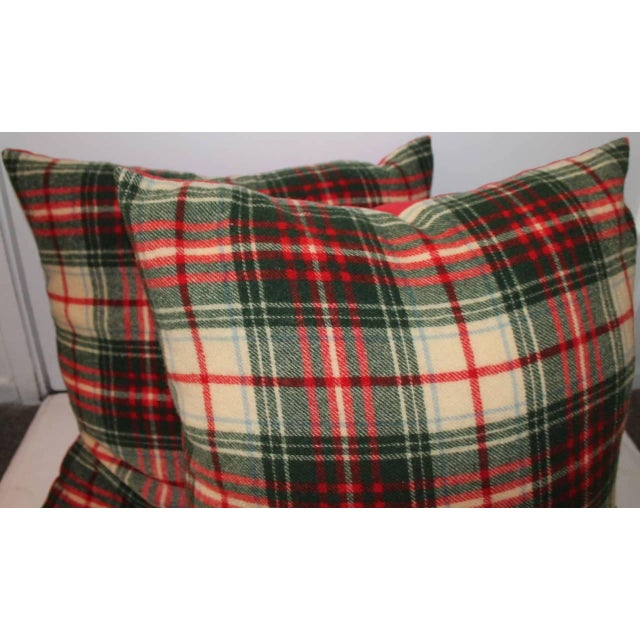 This wonderful Scottish red and green wool plaid blanket pillows have red cotton linen backing. There are three pairs in...