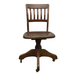 1940s Antique Wood Task Office Swivel Chair For Sale
