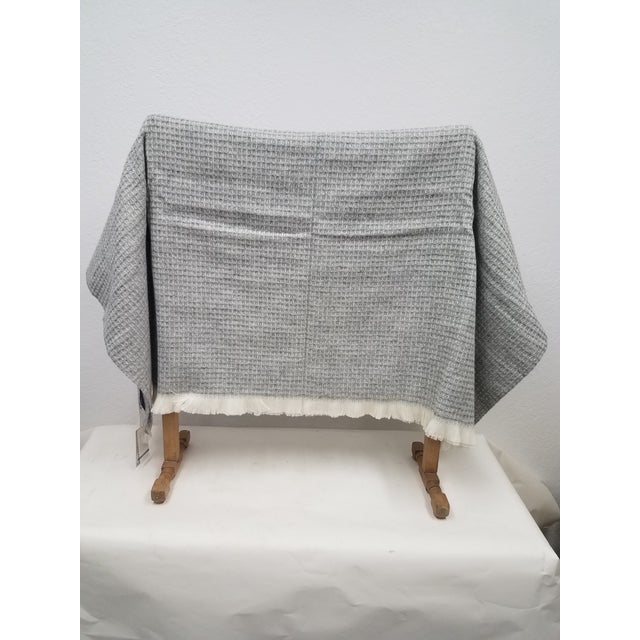 Wool Throw - Gray Waffle Weave Made in England A versatile throw in a gray waffle weave design made from soft 100% Merino...