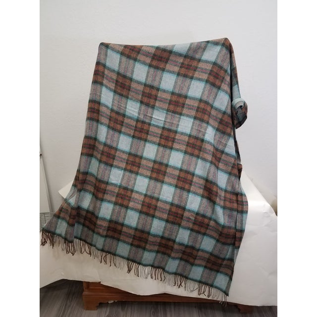 Wool Throw Red Blue Orange Plaid - Made in England For Sale In Dallas - Image 6 of 12