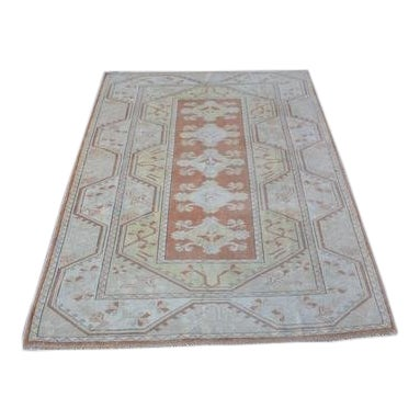 1960s Vintage Turkish Hand-Knotted Rug - 4′1″ × 5′11″ For Sale