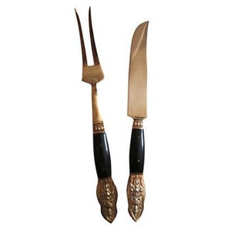 Buddha Buffalo Horn & Bronze Carving Set - A Pair For Sale