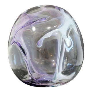 Contemporary Handblown Glass Art Orb Table Sculpture Signed Peter Bramhall 1990 For Sale