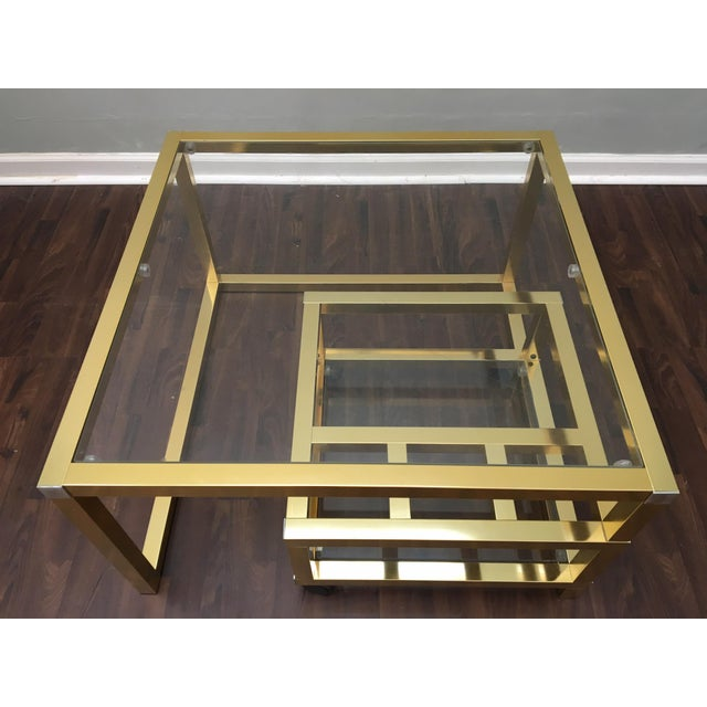 Milo Baughman Cubist Brass Swivel Coffee Table with Wine Rack After Milo Baughman For Sale - Image 4 of 7