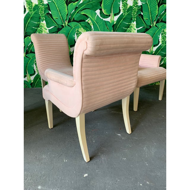 Set of Six Sculptural Pink Tufted Dining Chairs For Sale - Image 6 of 11