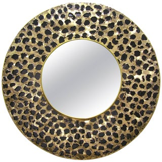 Contemporary Italian Brutalist Leopard Brass and Black Glass Round Mirror For Sale