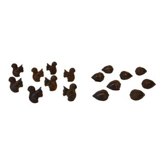 Rustic Acorns and Squirrels Place Card Holders - Set of 18 For Sale