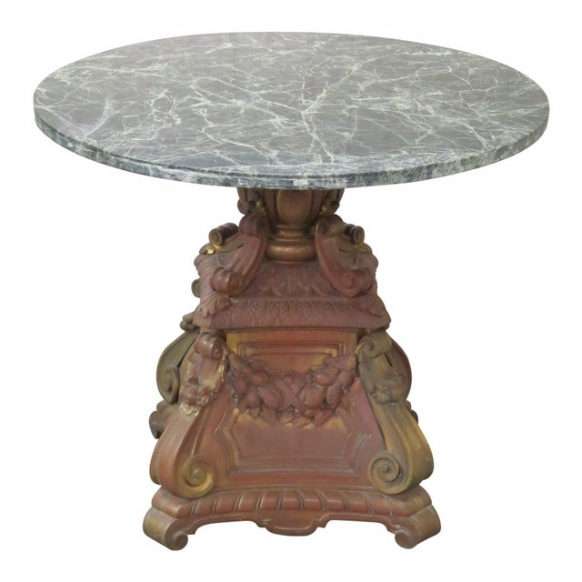 Ornate French Bronze Marble Top Center Table - Image 1 of 4