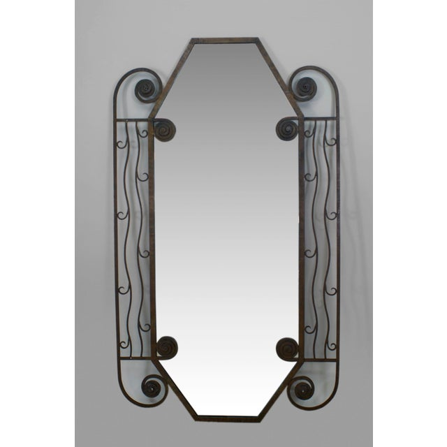 Art Deco French Art Deco Large Iron Rectangular Shaped Mirror For Sale - Image 3 of 3