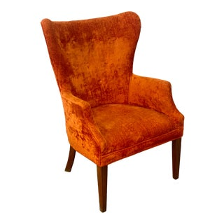 Vintage Retro Orange Crushed Velvet Wingback Accent Chair For Sale