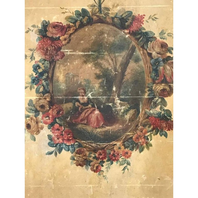 Large 18th Century French Oil on Canvas Wall Panel For Sale In New Orleans - Image 6 of 7
