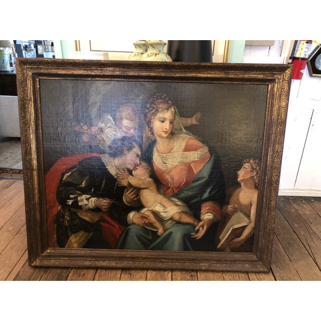 Large Original Oil on Canvas of Madonna and Child With Patrons For Sale - Image 9 of 13