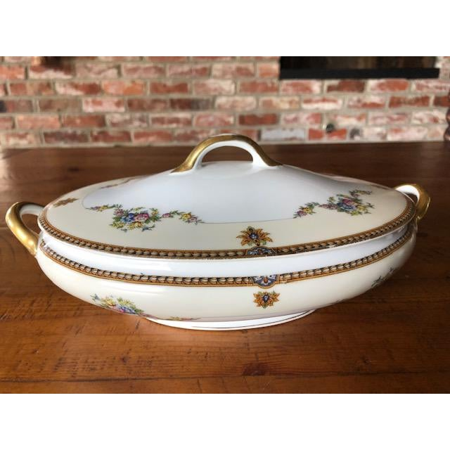 Rare Vintage (1930's) Oval fine china Noritake covered serving dish with handles. Beautifully hand painted in unique,...