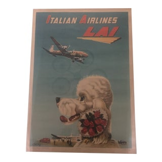 """1950's """"Italian Airlines"""" Original Travel Poster For Sale"""
