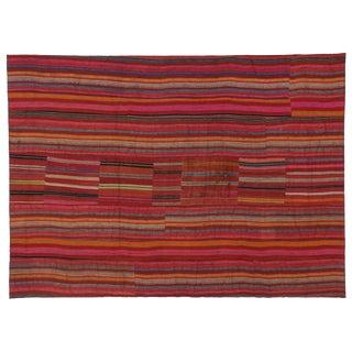 Modern Style Vintage Turkish Jajim Kilim Flat-Weave Rug With Colorful Stripes - 5′5″ × 7′6″
