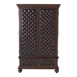 Tufted Leather Front Cherry Armoire For Sale