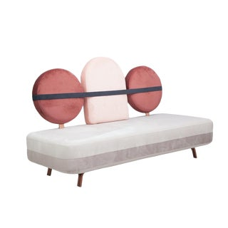 New Velvet Upholstery Three Seat Jimi Sofa by Masquespacio & Houtique For Sale