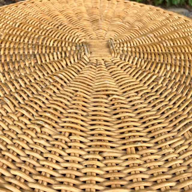Trompe L'Oeil Mid Century Rattan Ghost Wicker Table For Sale - Image 4 of 8