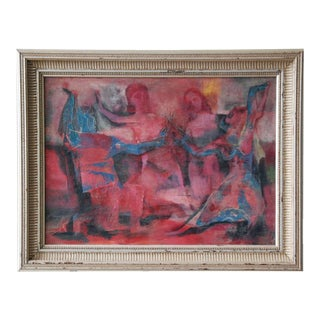 Joseph Wolins Figurative Abstract Oil on Board, United States, circa 1960 For Sale
