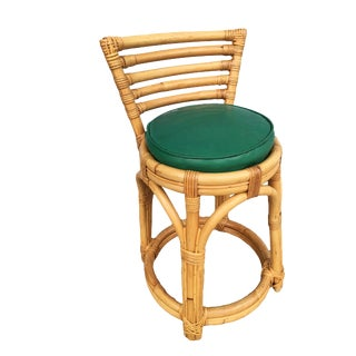 Restored Three Stand Rattan Vanity Stool W/ Five Strand Back For Sale