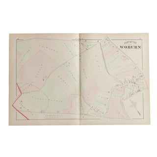 Antique Woburn Massachusetts Atlas Map Plate M For Sale