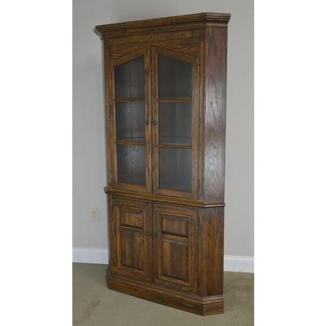 Ethan Allen Royal Charter Oak Corner Cabinet For Sale - Image 11 of 13