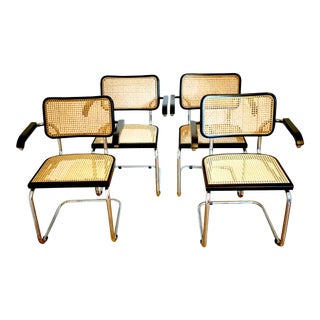 Vintage Mid-Century Marcel Breuer Style Italian Cane Arm Dining Chairs - Set of 4