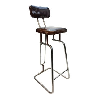Mid Century Modern Brown Vinyl Bar Stool