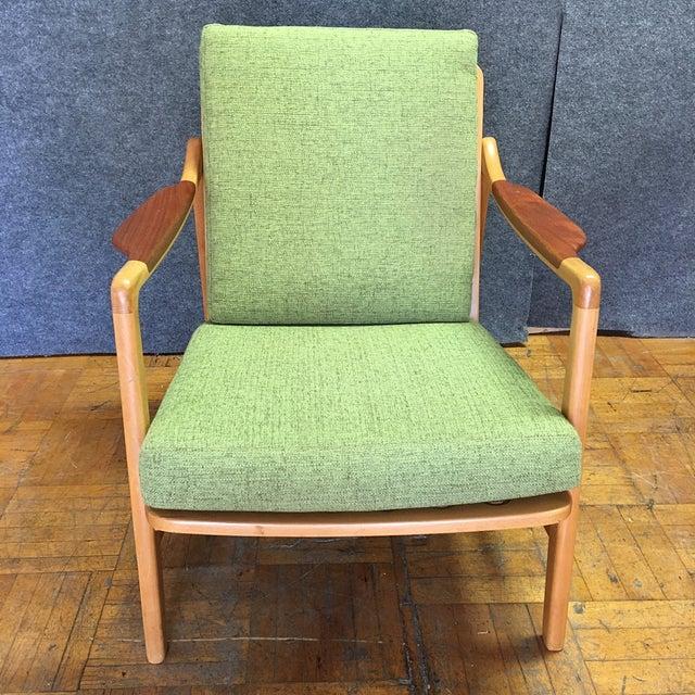 Light Green Mid-Century Modern Armchair - Image 3 of 7