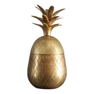 Vintage Mid Century 12 Inch Brass Pineapple For Sale