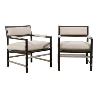 Rare Pair of Armchairs in Ash and Stainless Steel by Edward Wormley for Dunbar For Sale