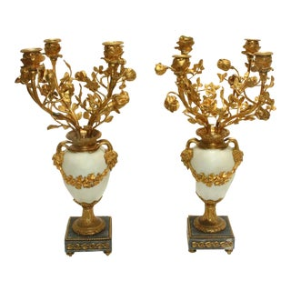 Late 19th Century French Gilt Bronze & Marble 4-Light Candelabras - a Pair For Sale