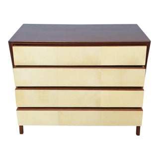 Italian Modern Mahogany and Parchment Commode, Dassi For Sale
