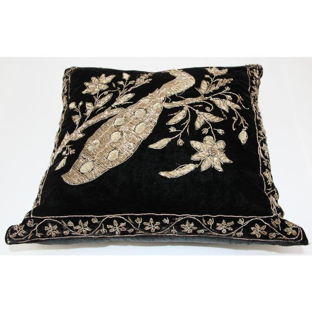 Metal Black Velvet Throw Pillow Embroidered With Metallic Gold Threads For Sale - Image 7 of 13